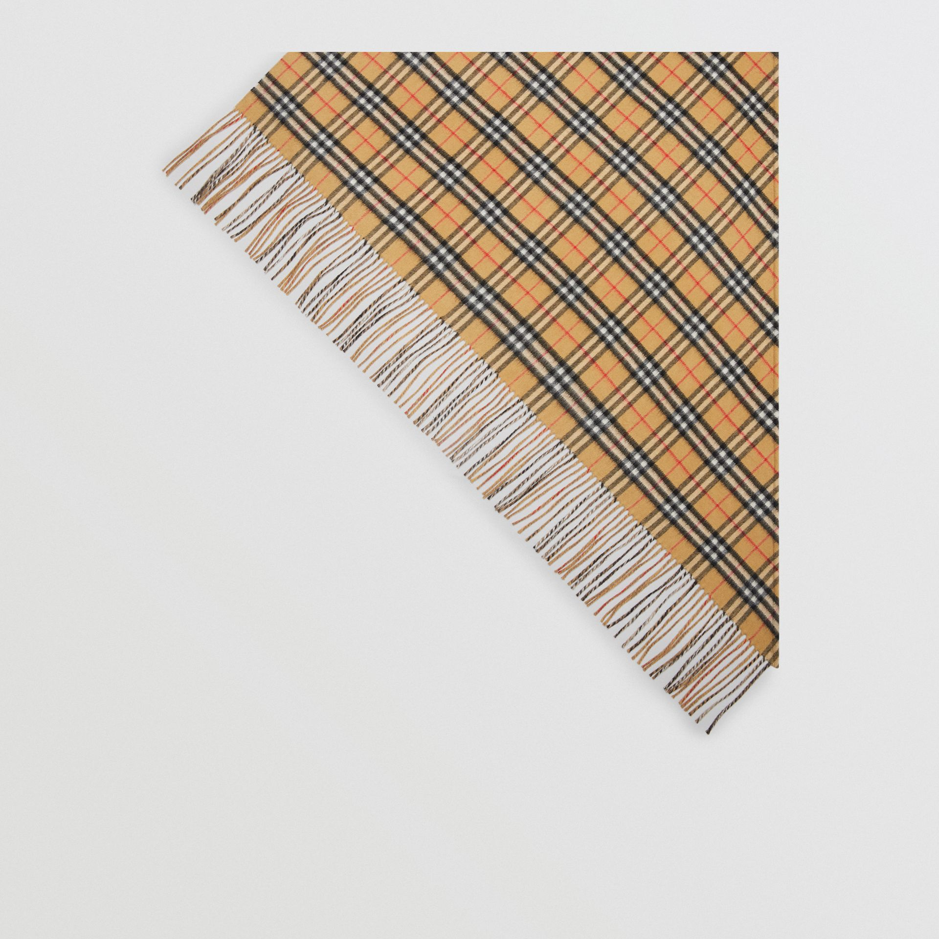 The Burberry Bandana in Vintage Check Cashmere in Sandstone | Burberry Australia - gallery image 4
