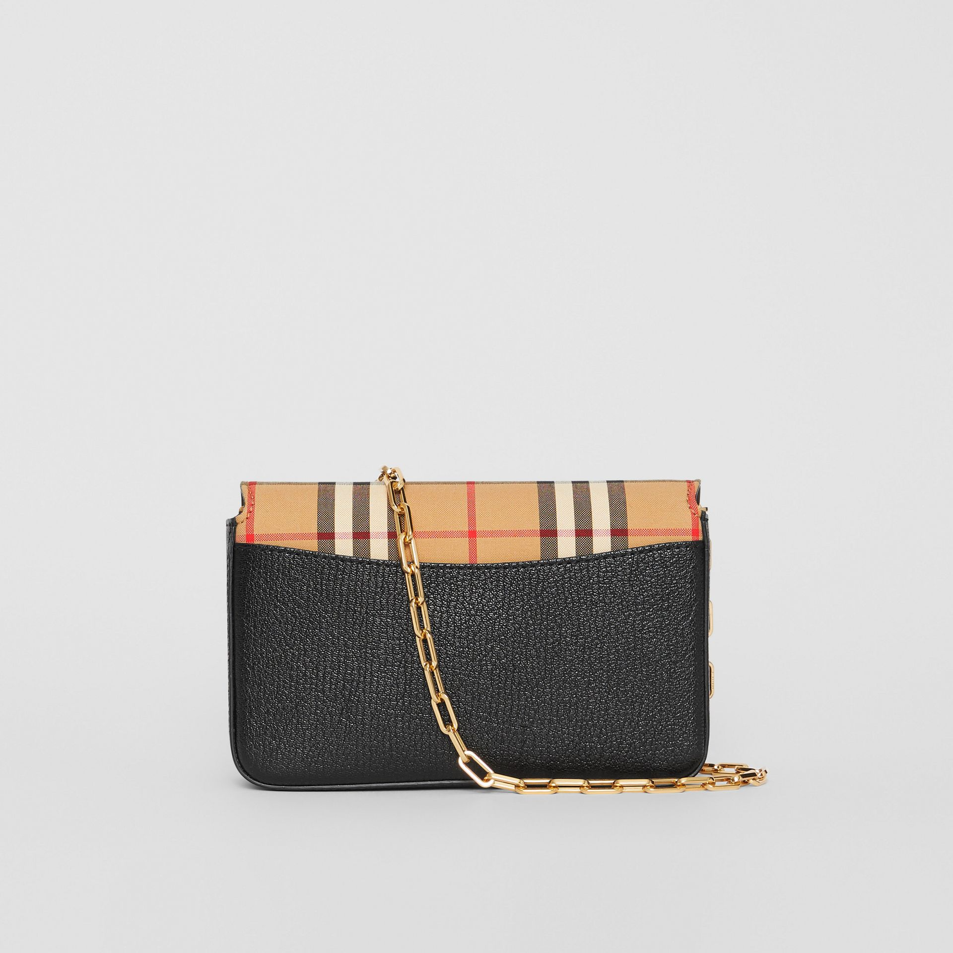 The Mini Vintage Check and Leather D-ring Bag in Black - Women | Burberry United Kingdom - gallery image 7