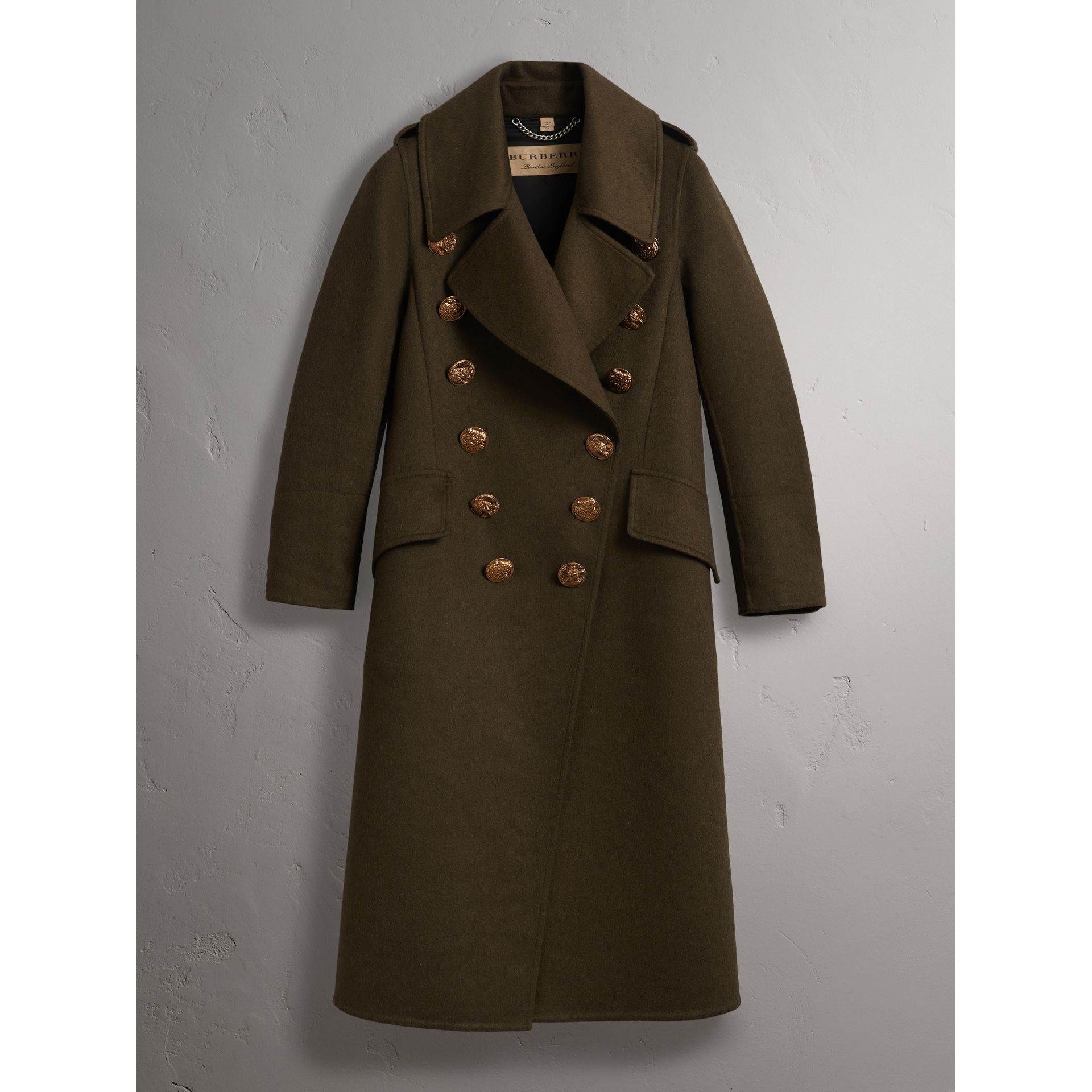 Bird Button Cashmere Wool Military Coat in Dark  Green - Women | Burberry - gallery image 3