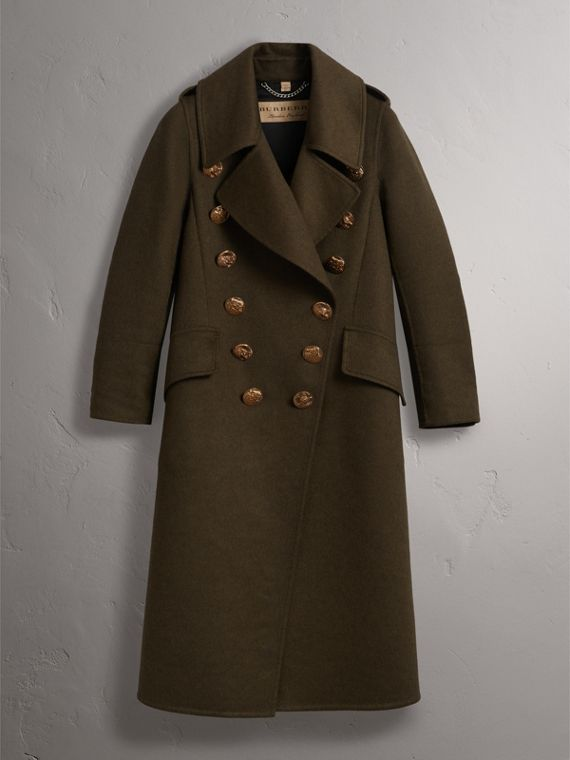 Bird Button Cashmere Wool Military Coat in Dark  Green - Women | Burberry - cell image 3