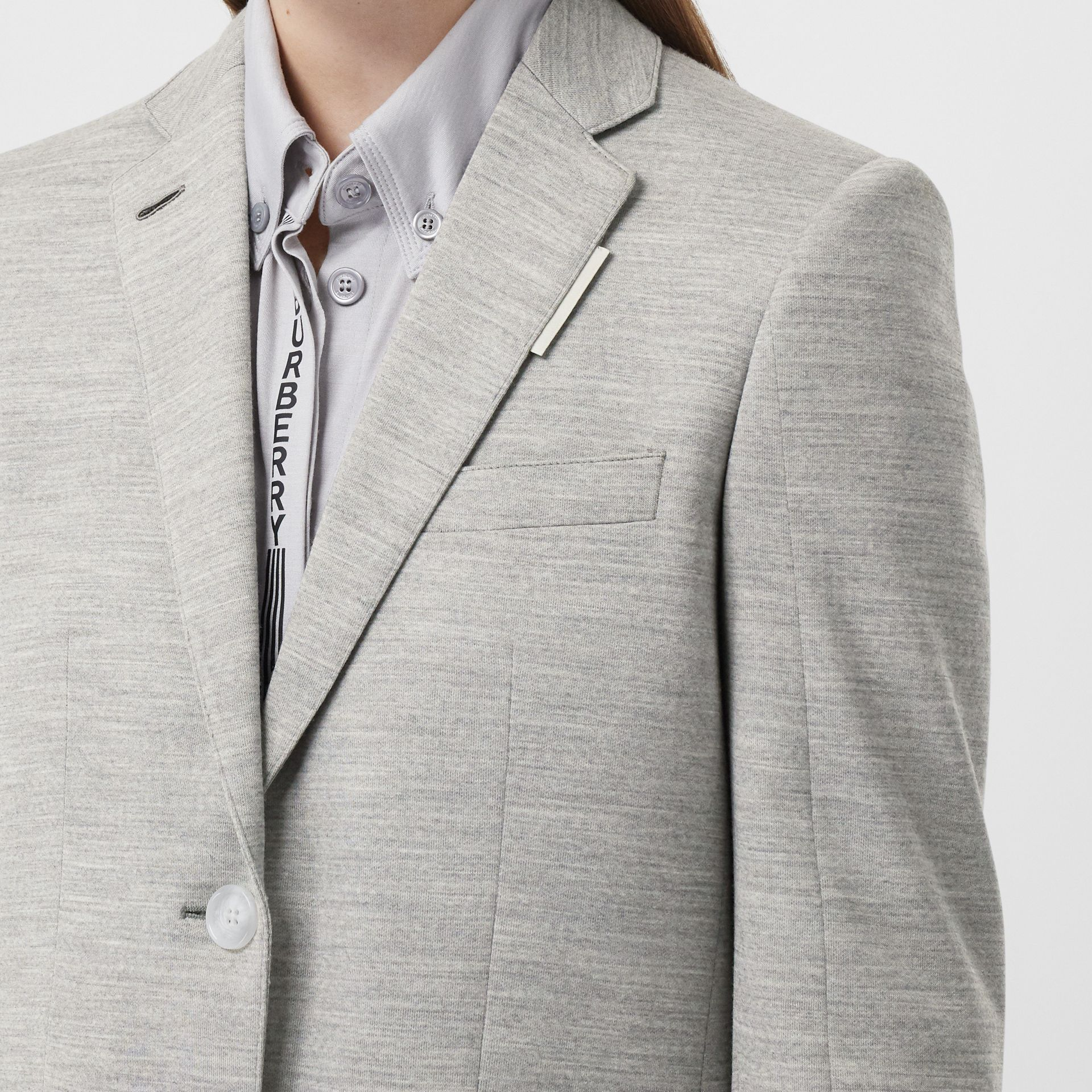 Technical Wool Jersey Blazer in Grey Taupe Melange - Women | Burberry - gallery image 1