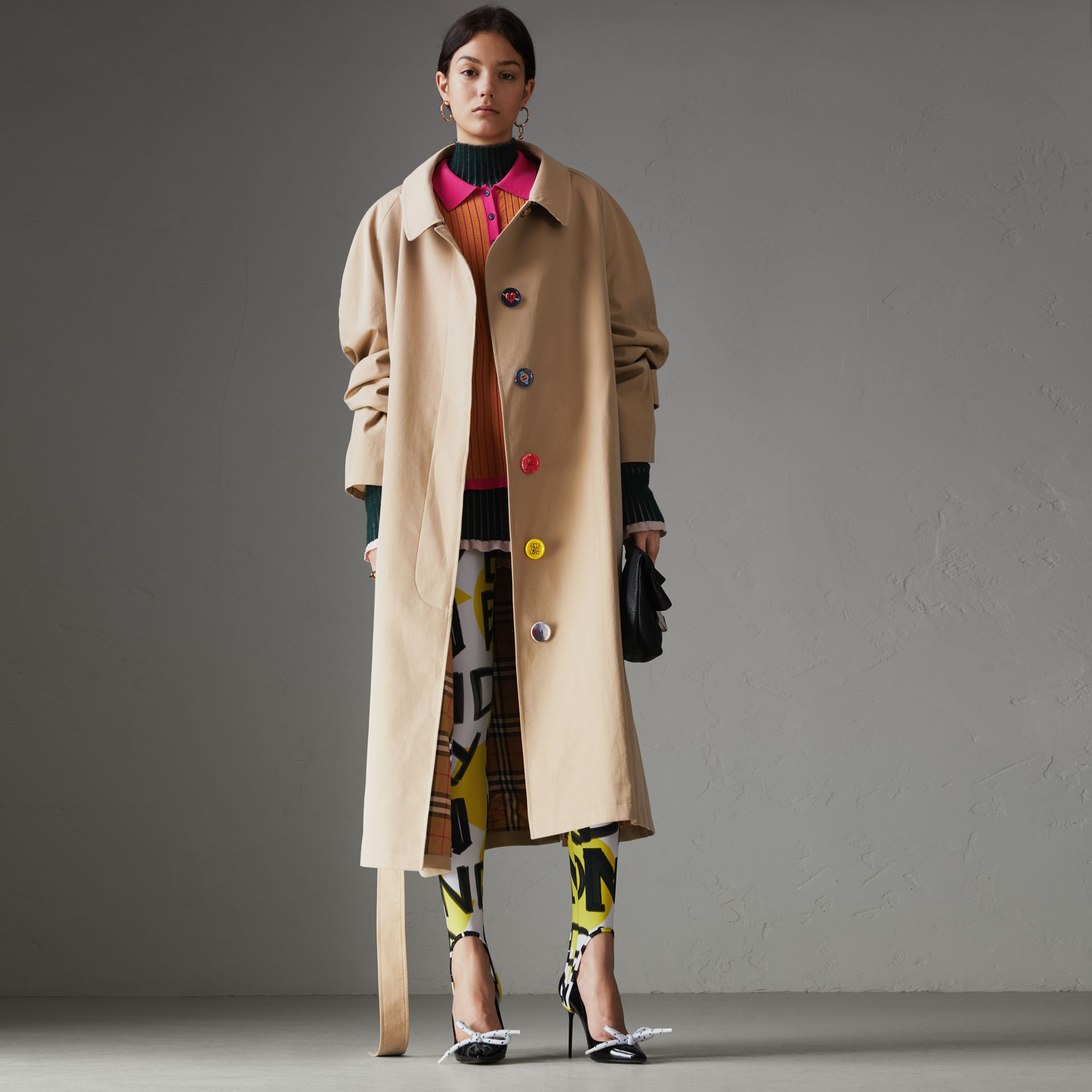 Painted Button Tropical Gabardine Car Coat in Honey - Women | Burberry United States - gallery image 0