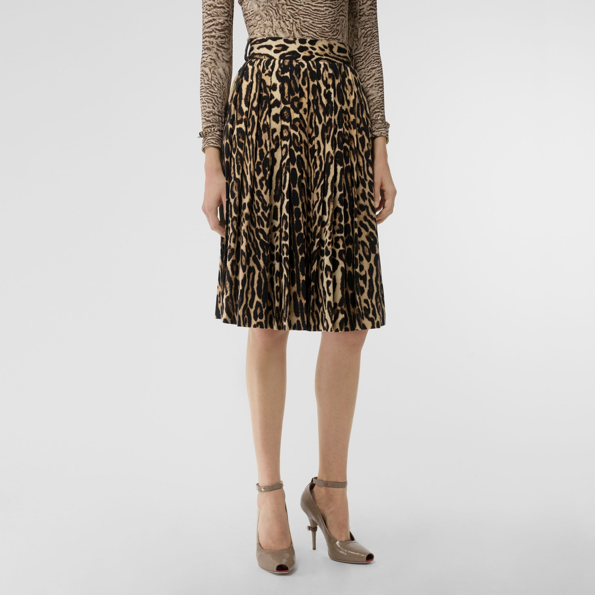 Leopard Print Stretch Silk Pleated Skirt in Camel - Women | Burberry - gallery image 4