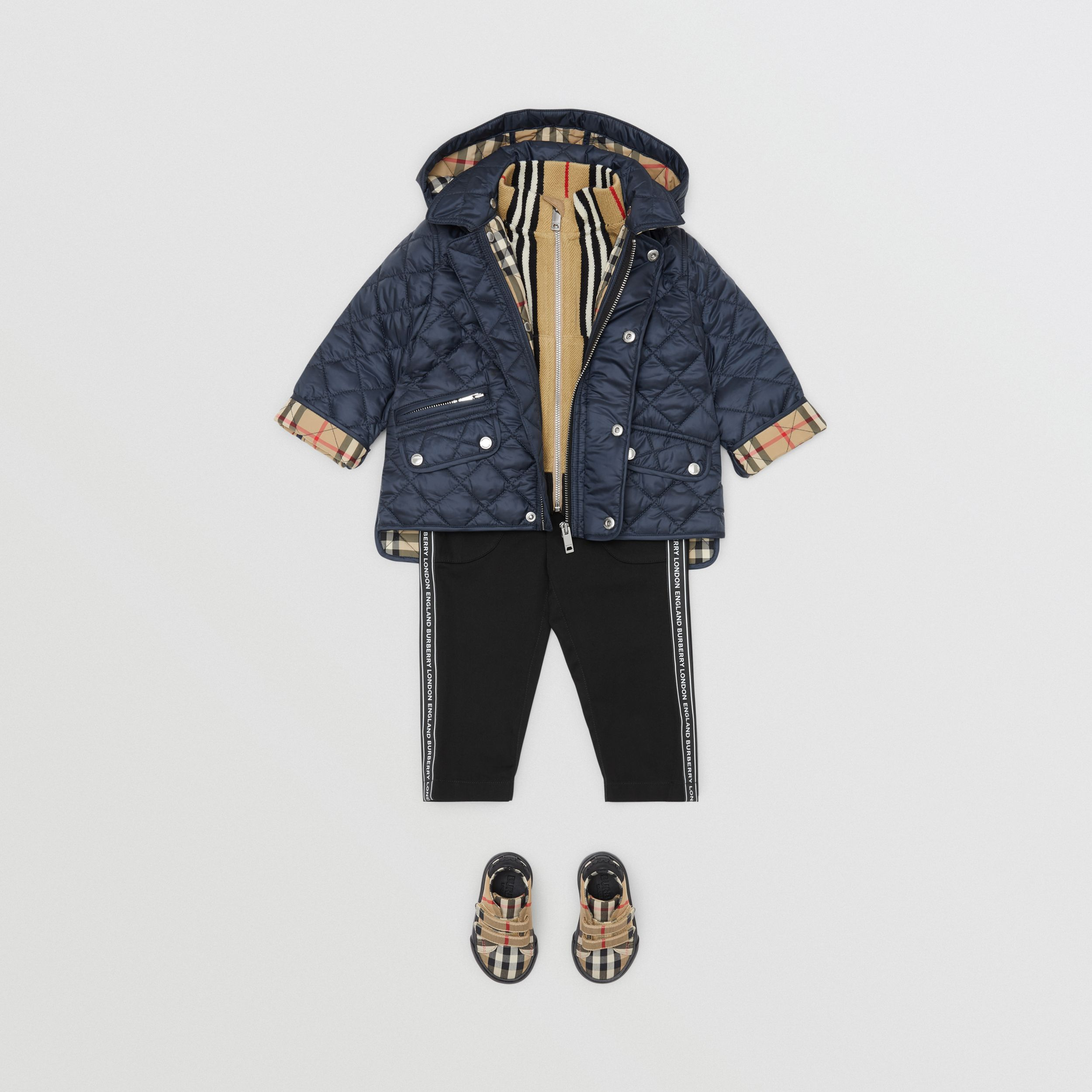 Detachable Hood Diamond Quilted Jacket in Navy - Children | Burberry - 4