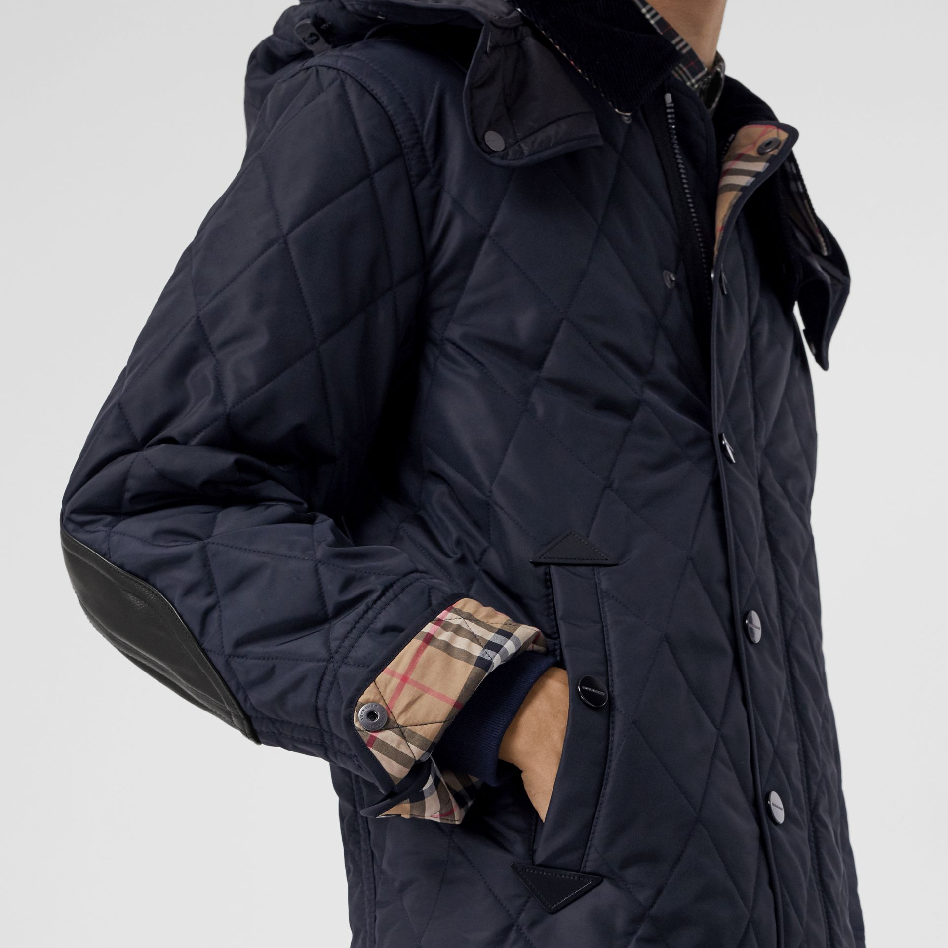 Detachable Hood Diamond Quilted Barn Jacket in Navy - Men | Burberry - gallery image 4