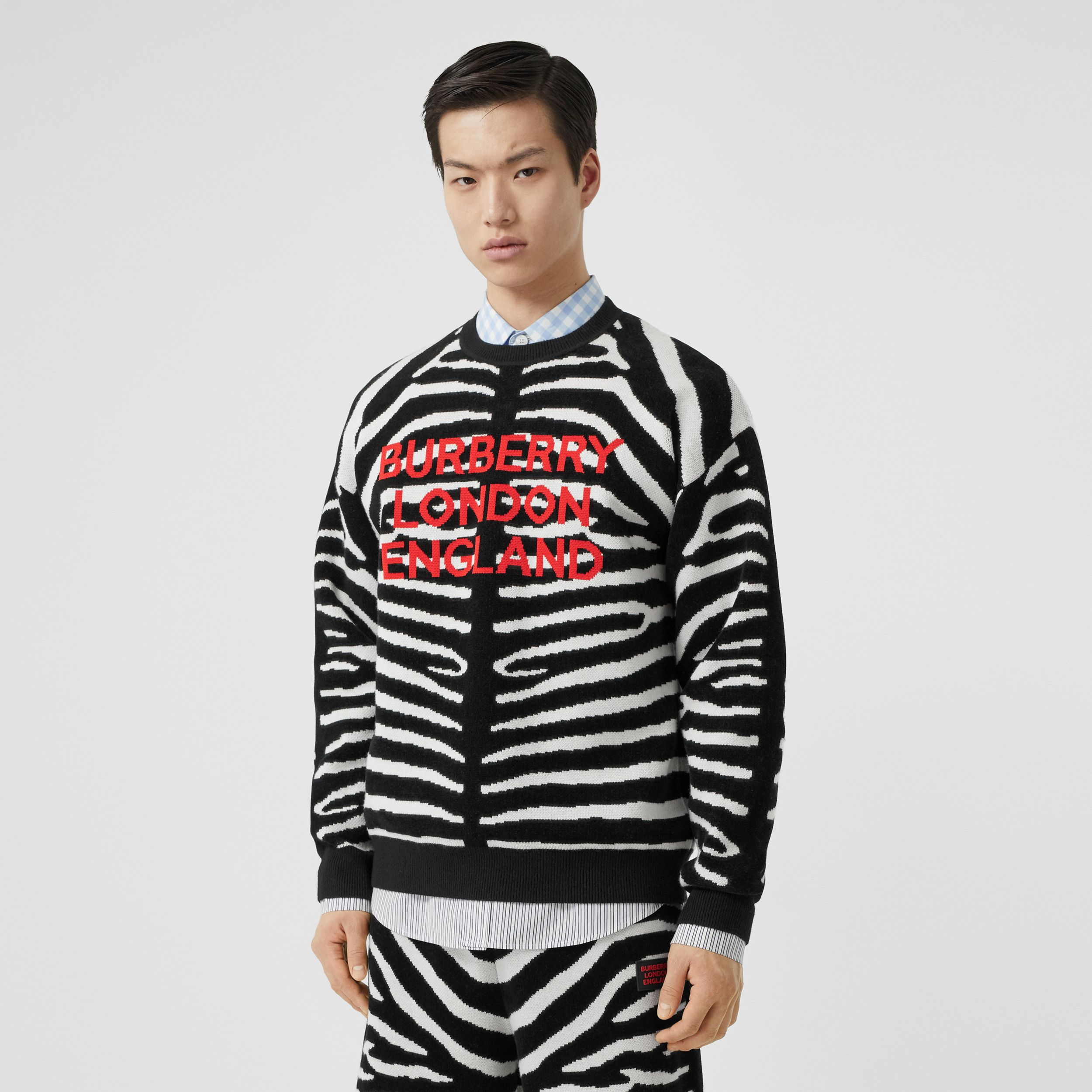 Zebra and Logo Wool Blend Jacquard Sweater in Black - Men | Burberry - 1