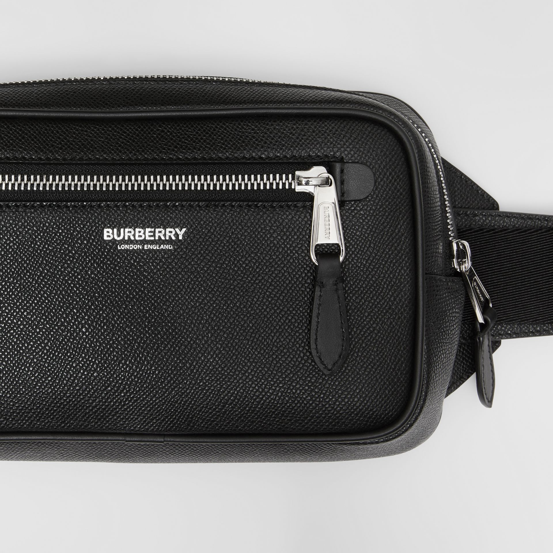 Grainy Leather Bum Bag in Black - Men | Burberry - gallery image 1