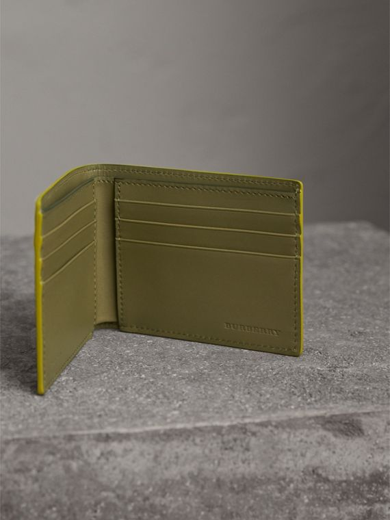 London Leather Slim Folding Wallet in Bright Citrus | Burberry - cell image 3