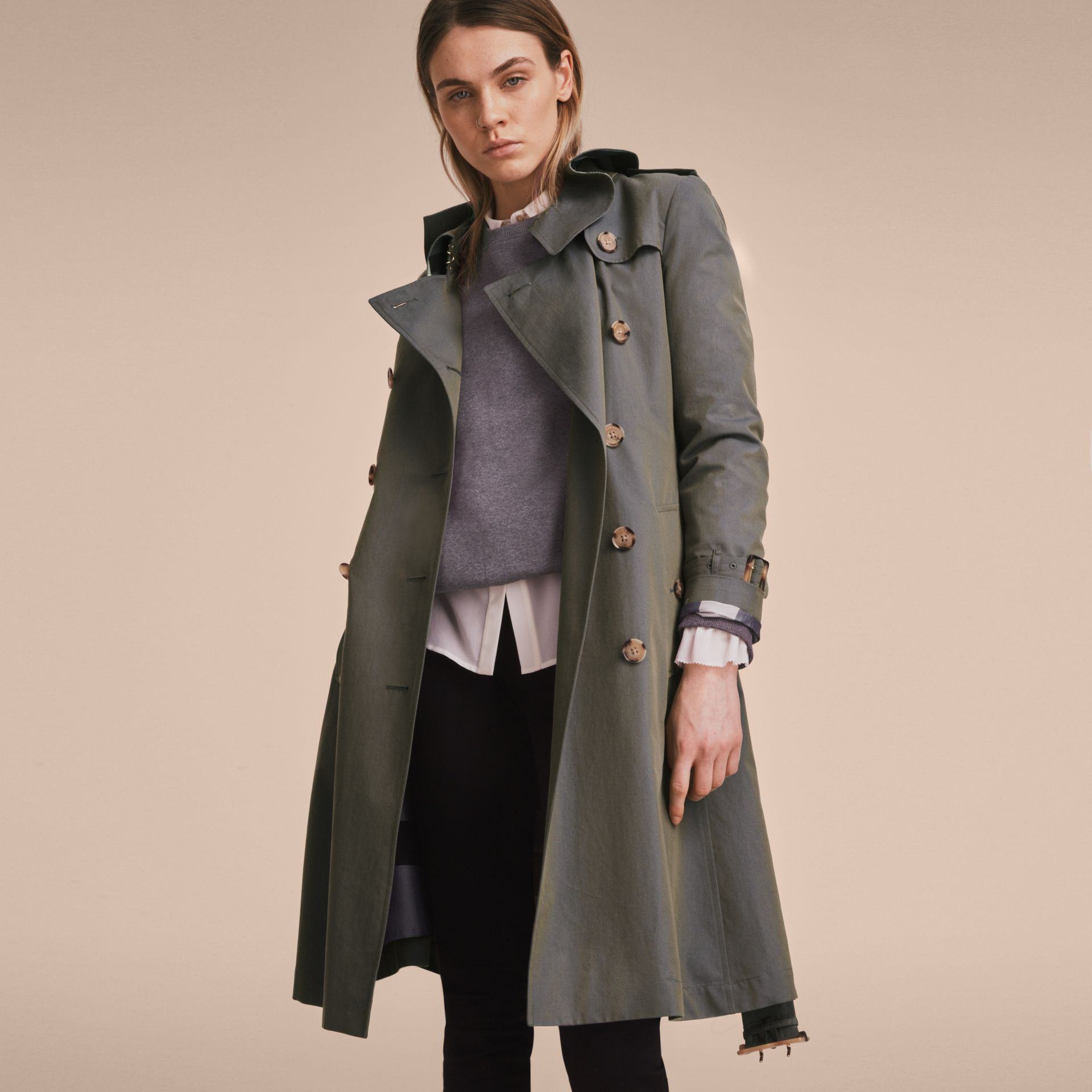 Tropical Gabardine Trench Coat with Ruffle Detail in Storm Blue - Women | Burberry Australia - gallery image 7
