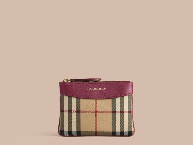 Dark plum Horseferry Check and Leather Pouch Dark Plum - cell image 4