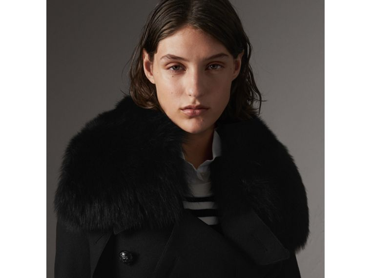Detachable Fox Fur Collar Wool Blend Trench Coat in Black - Women | Burberry - cell image 1