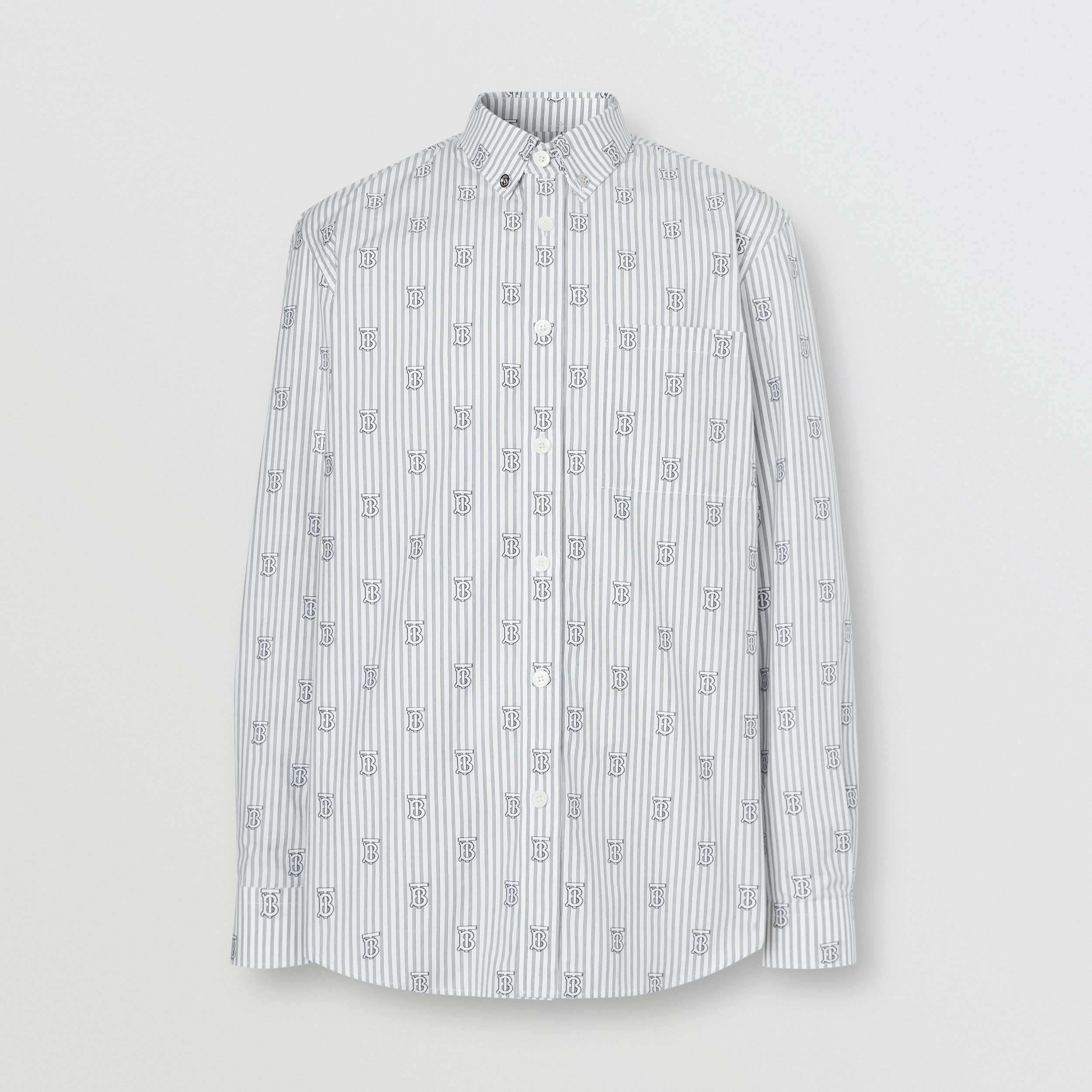 Slim Fit Monogram Motif Pinstriped Cotton Shirt in White - Men | Burberry - 4