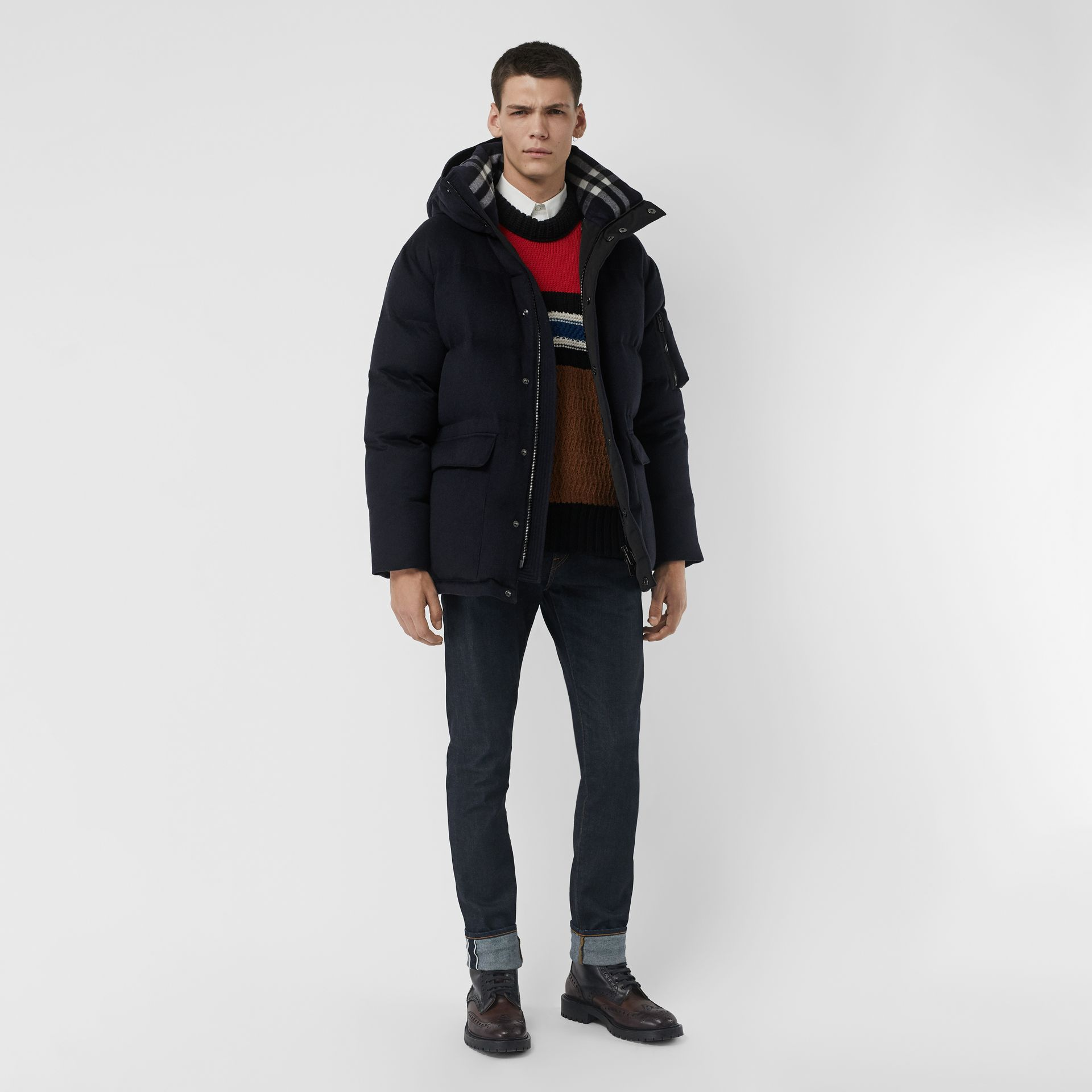 Cashmere Down-filled Hooded Jacket in Navy Melange - Men | Burberry - gallery image 0