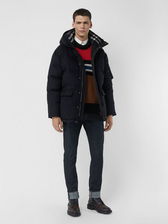 Cashmere Down-filled Hooded Jacket in Navy Melange
