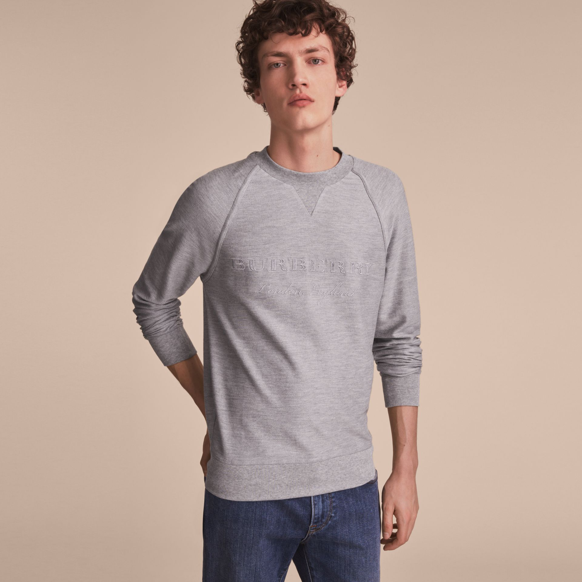 Embroidered Motif Cotton-blend Jersey Sweatshirt in Mid Grey Melange - Men | Burberry - gallery image 6