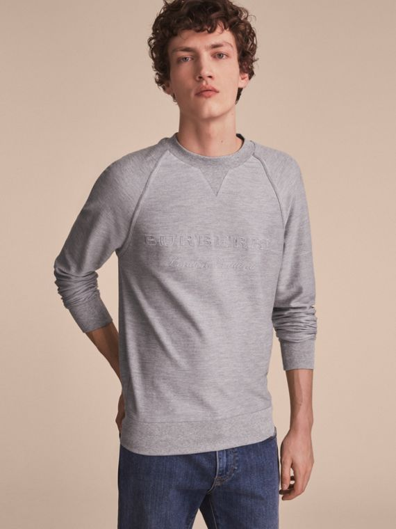 Embroidered Motif Cotton-blend Jersey Sweatshirt in Mid Grey Melange - Men | Burberry Singapore