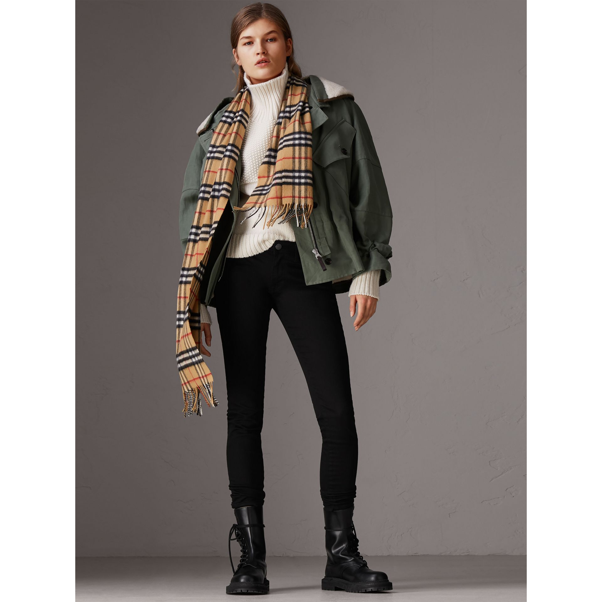The Classic Vintage Check Cashmere Scarf in Antique Yellow | Burberry - gallery image 3