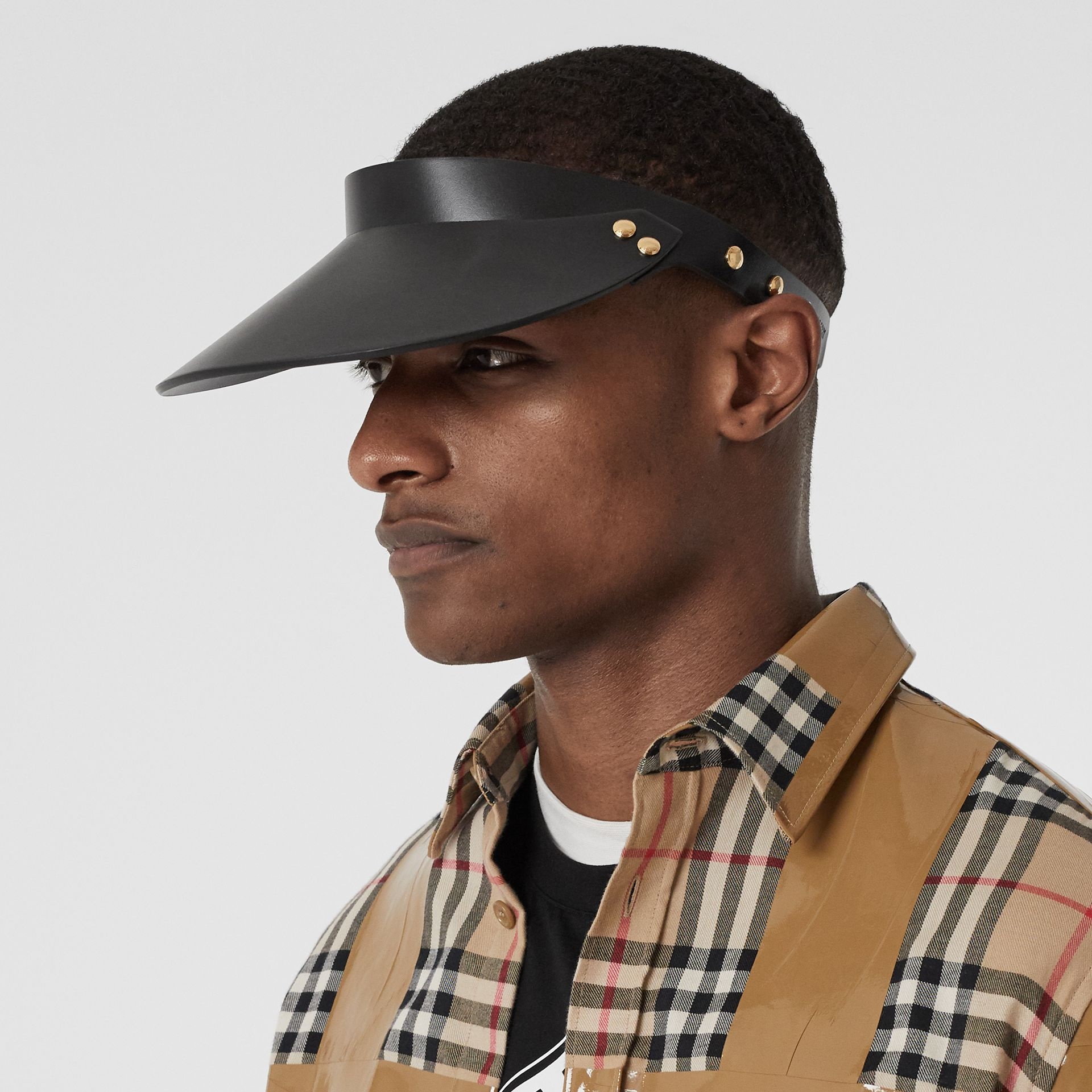 Studded Leather Visor in Black | Burberry - gallery image 3