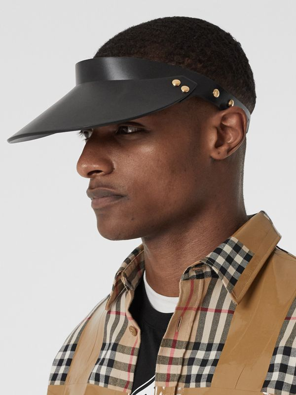 Studded Leather Visor in Black | Burberry - cell image 3