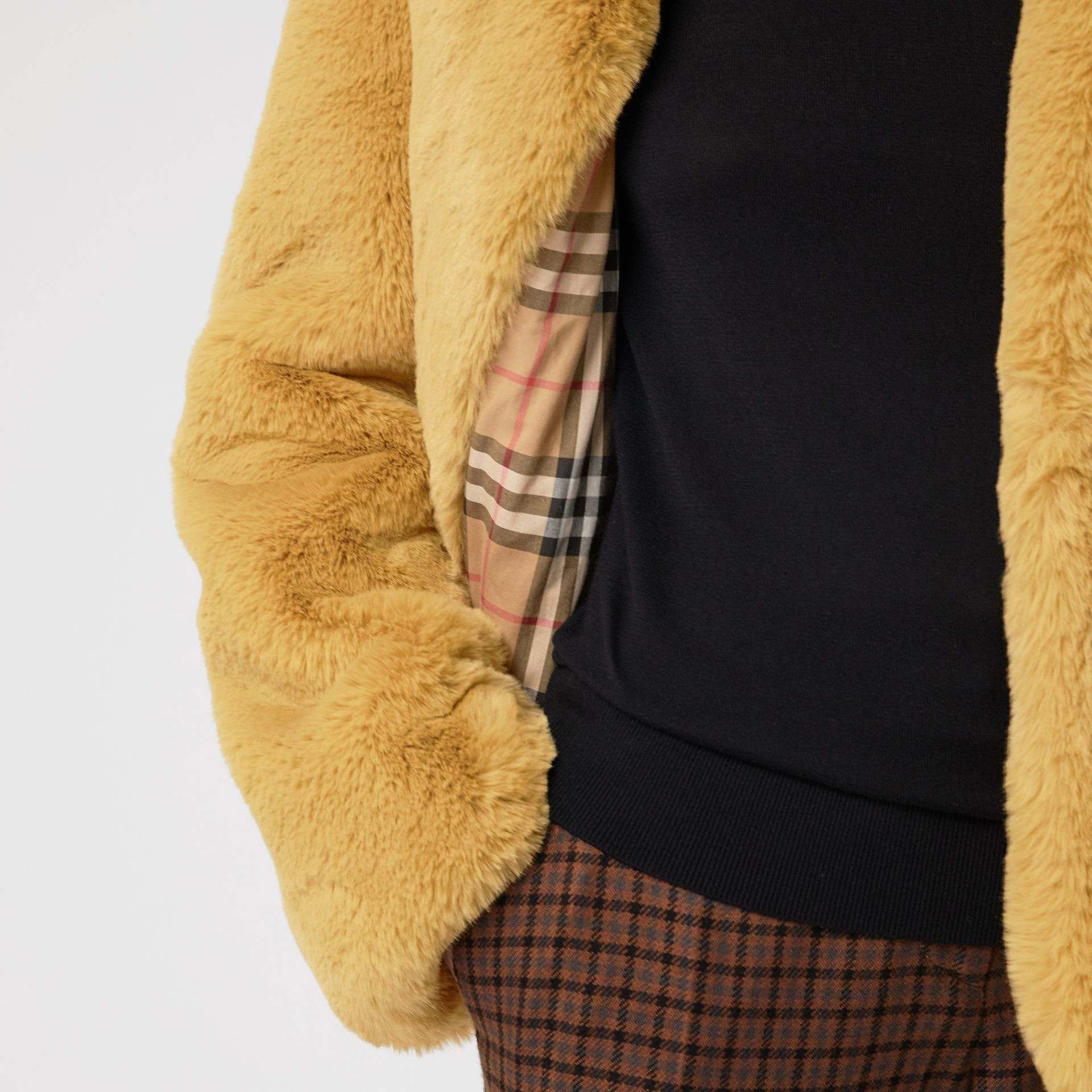 Faux Fur Single-Breasted Jacket in Ochre Yellow - Women | Burberry Australia - gallery image 1
