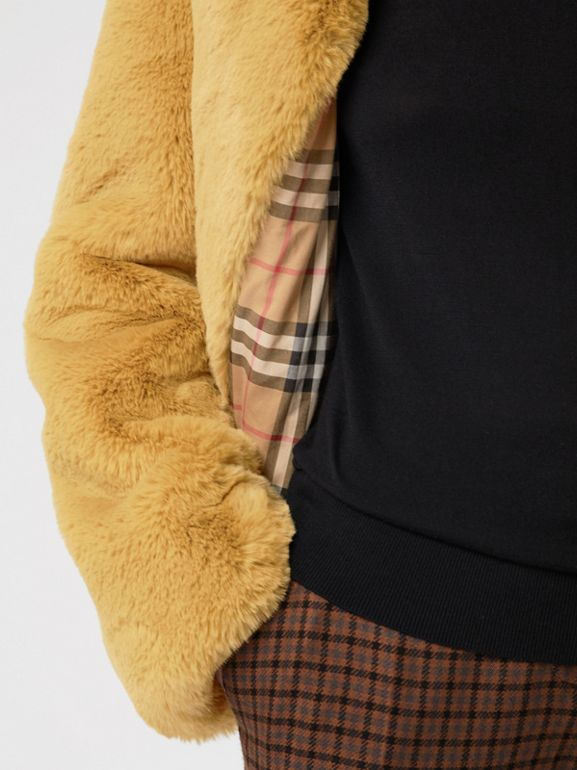 Faux Fur Single-Breasted Jacket in Ochre Yellow - Women | Burberry Australia - cell image 1