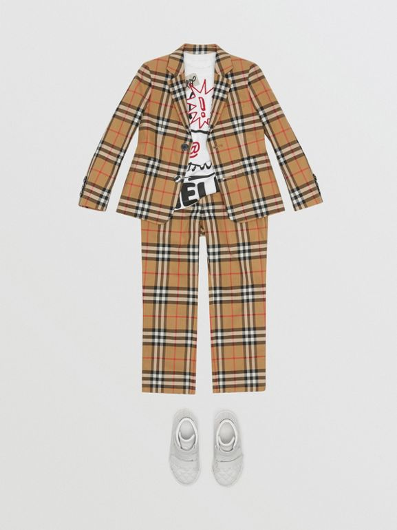 Vintage Check Cotton Blazer in Antique Yellow | Burberry - cell image 1