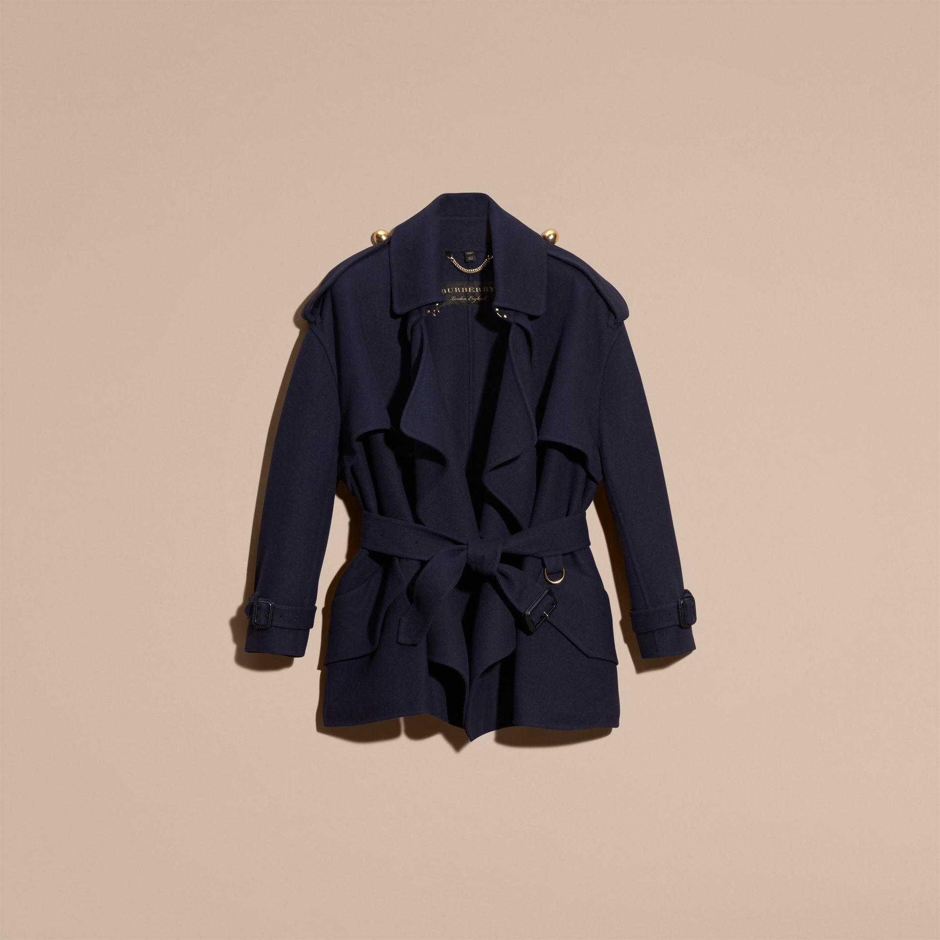 Navy Cashmere Wool Deconstructed Cropped Trench Coat - gallery image 4
