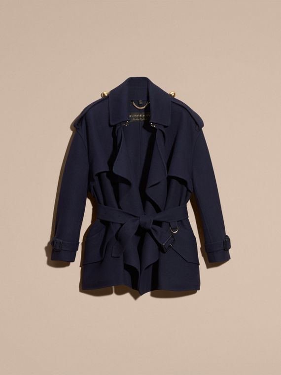 Navy Cashmere Wool Deconstructed Cropped Trench Coat - cell image 3