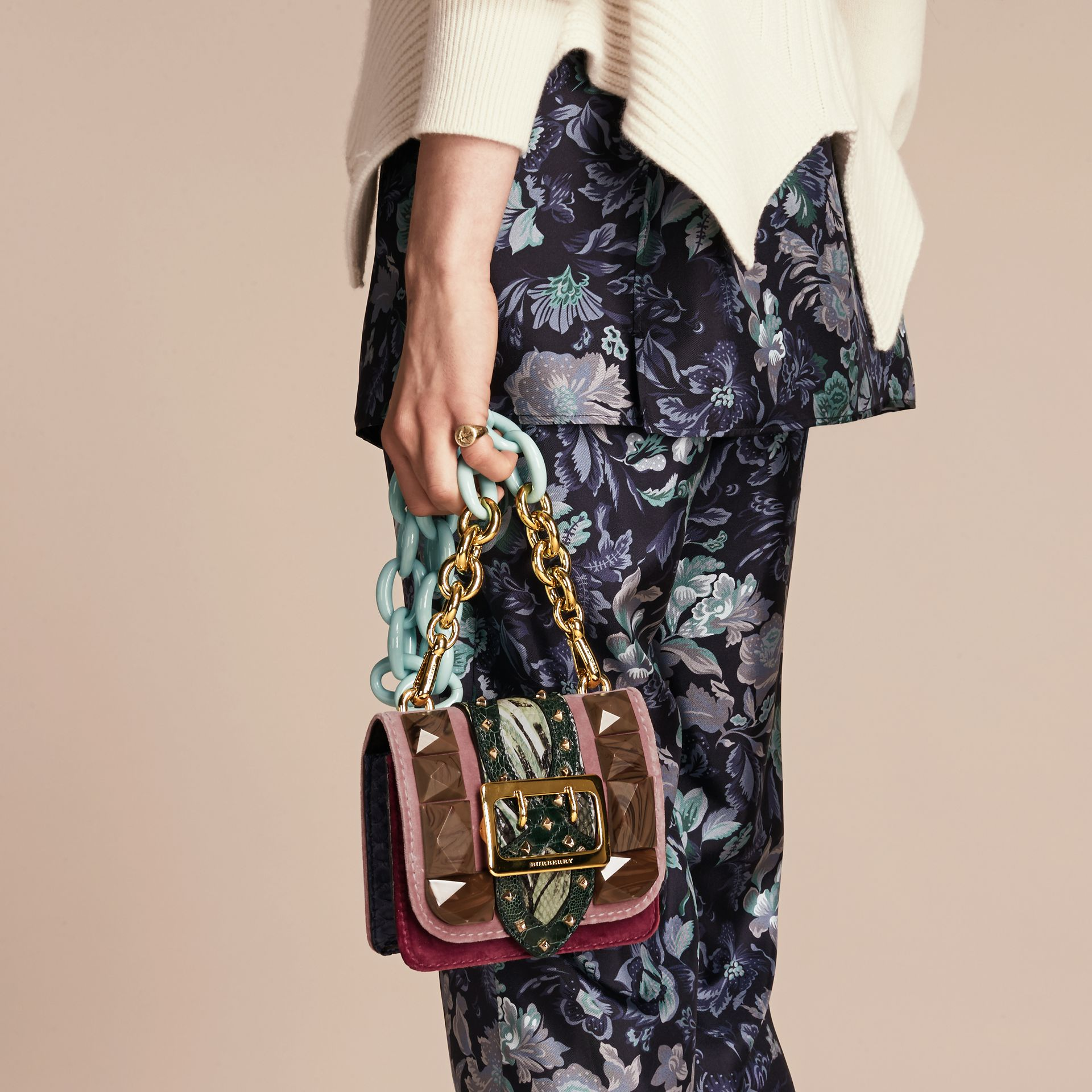 Ash rose The Mini Square Buckle Bag in Velvet and Floral Print Snakeskin - gallery image 3