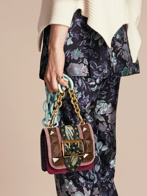 Ash rose The Mini Square Buckle Bag in Velvet and Floral Print Snakeskin - cell image 2