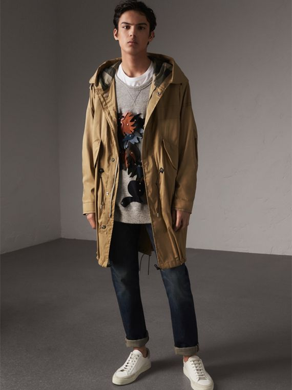 Cotton Blend Twill Parka - Men | Burberry Singapore