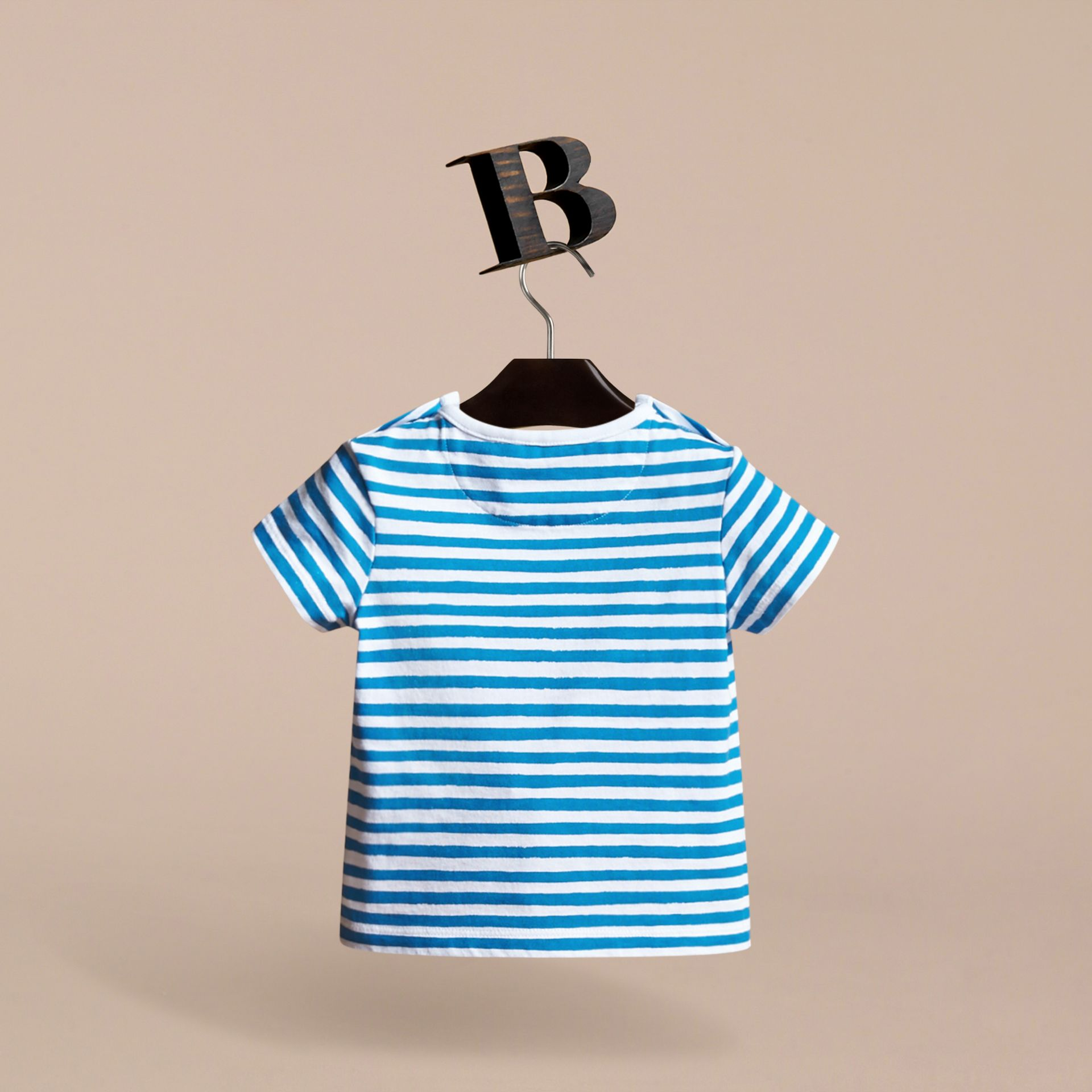 Pallas Heads Print Striped Cotton T-shirt in White | Burberry - gallery image 4