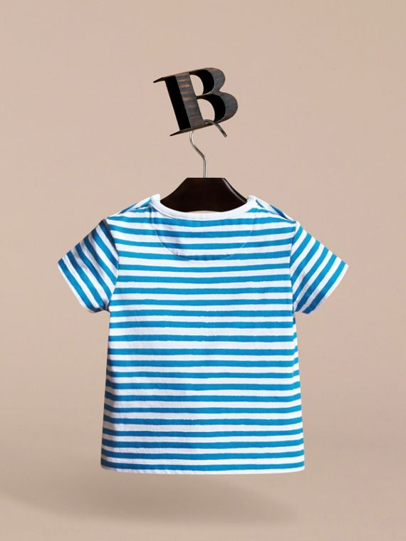 Pallas Heads Print Striped Cotton T-shirt in White | Burberry - cell image 3