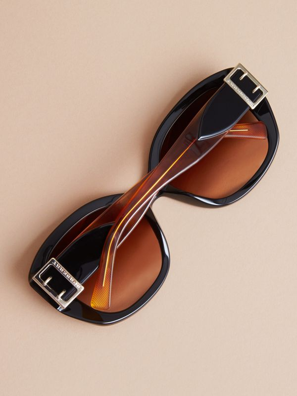 Buckle Detail Oversize Square Frame Sunglasses in Black - Women | Burberry Australia - cell image 3