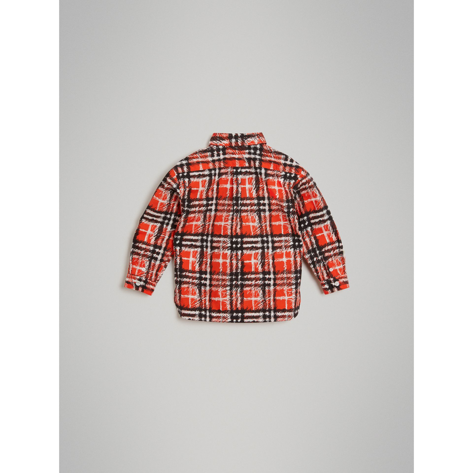 Scribble Check Button-down Collar Shirt in Bright Red - Boy | Burberry - gallery image 3