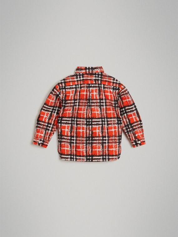Scribble Check Button-down Collar Shirt in Bright Red - Boy | Burberry United Kingdom - cell image 3
