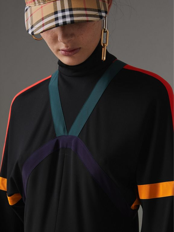 Colour Block Detail Jersey Turtleneck Dress in Black - Women | Burberry United Kingdom - cell image 1