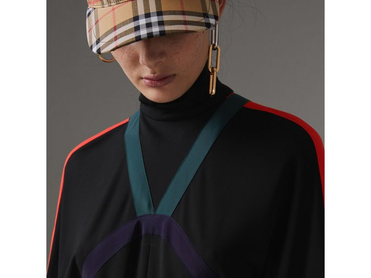 Colour Block Detail Jersey Turtleneck Dress in Black - Women | Burberry United States - cell image 1