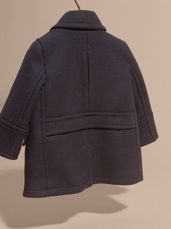 Navy Pea coat in misto lana e cashmere - cell image 3