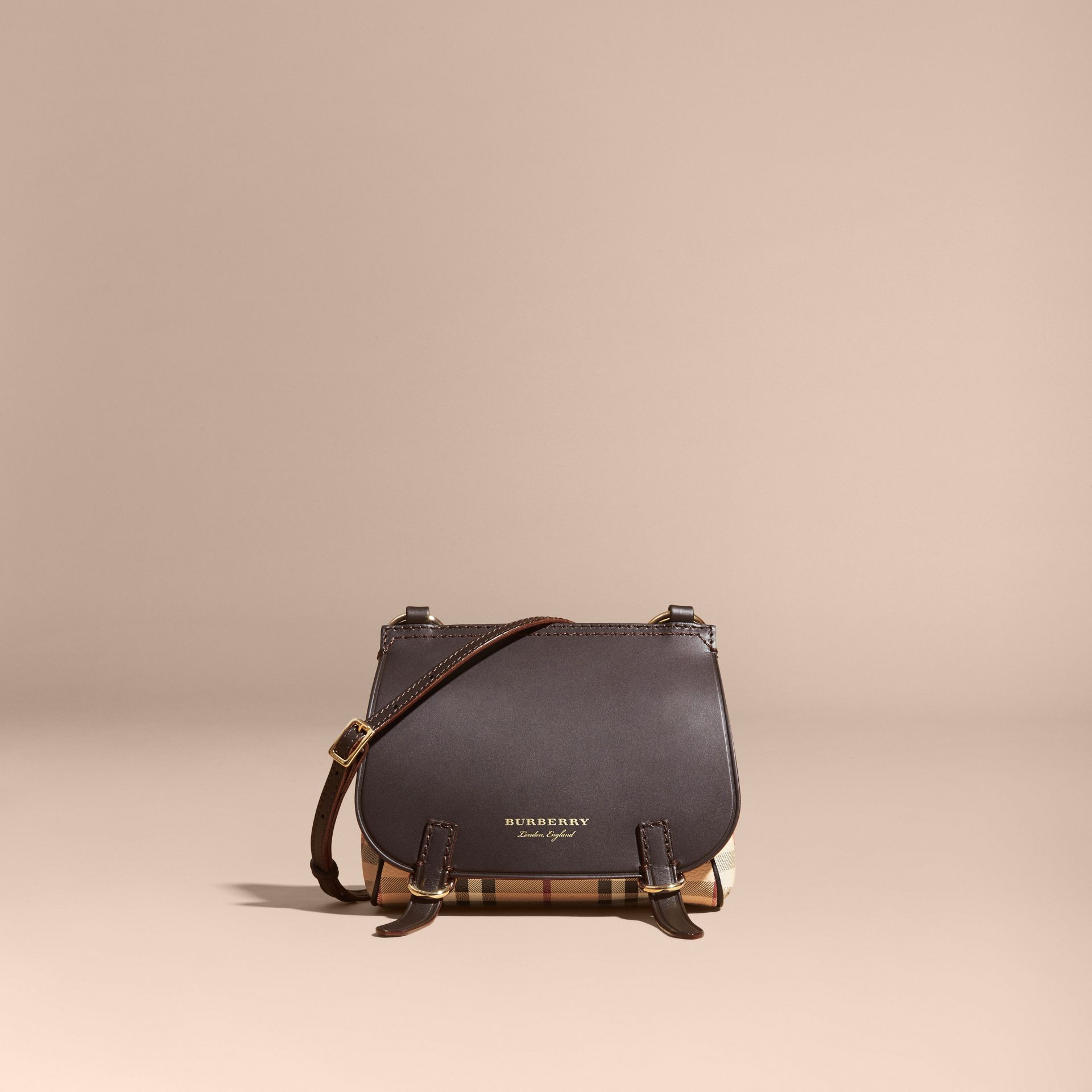 The Baby Bridle Bag in Leather and Haymarket Check in Dark Clove Brown - Women | Burberry - gallery image 8