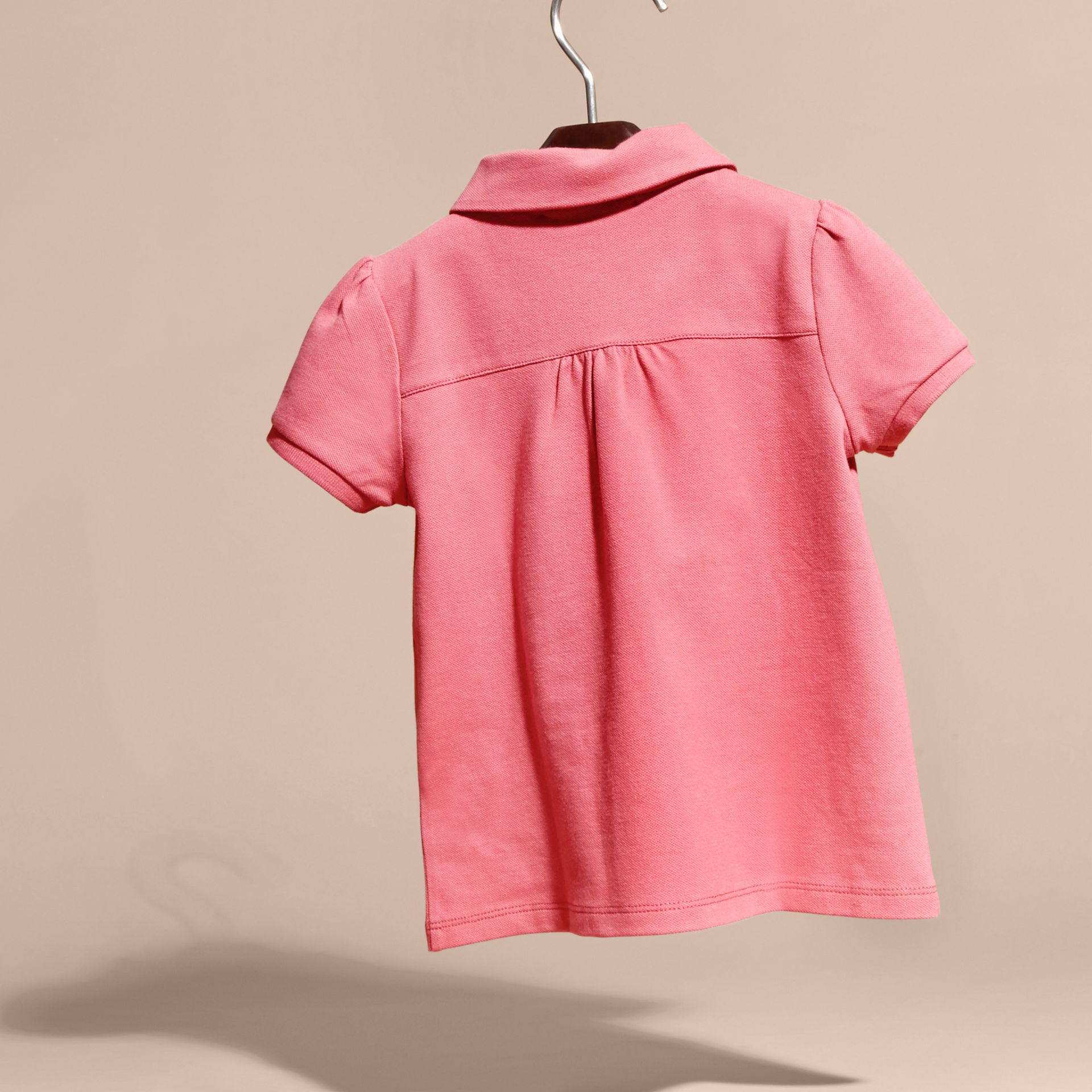 Ruched Detail Stretch Cotton Polo Shirt Pink Azalea - gallery image 4