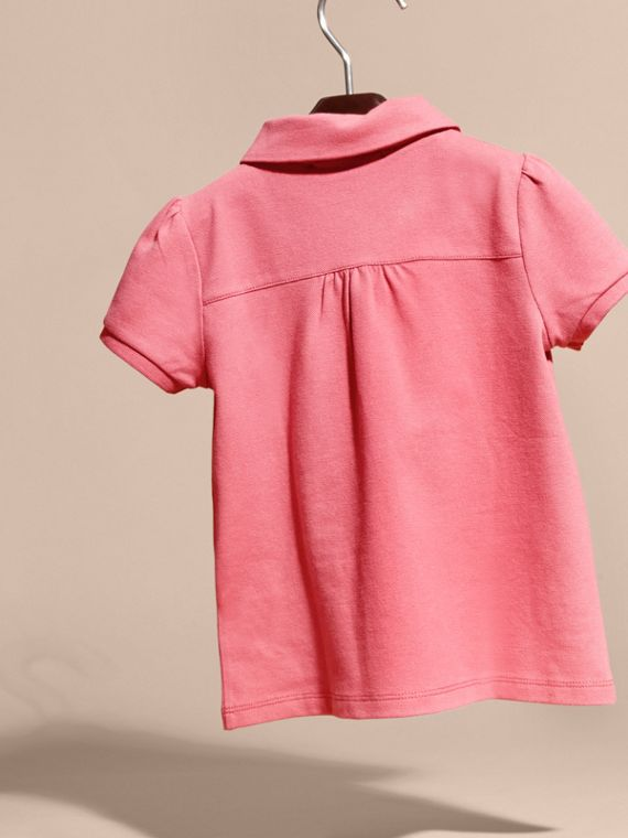 Ruched Detail Stretch Cotton Polo Shirt Pink Azalea - cell image 3