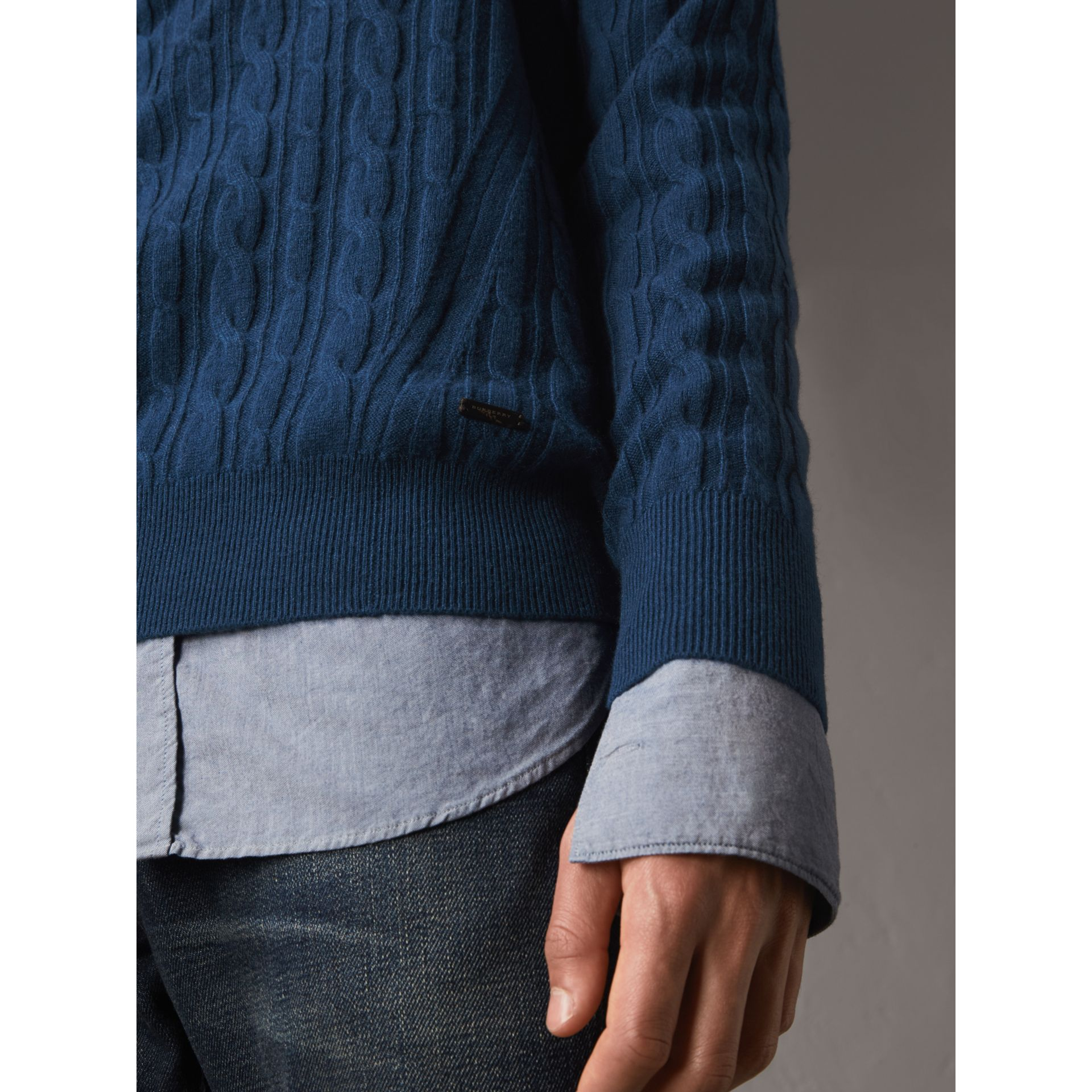 Cable and Rib Knit Cashmere V-neck Sweater in Bright Navy - Men | Burberry - gallery image 2