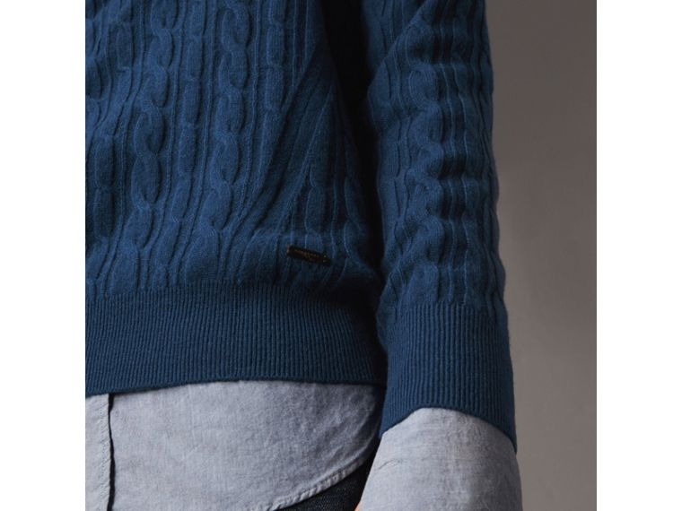 Cable and Rib Knit Cashmere V-neck Sweater in Bright Navy - Men | Burberry Hong Kong - cell image 1