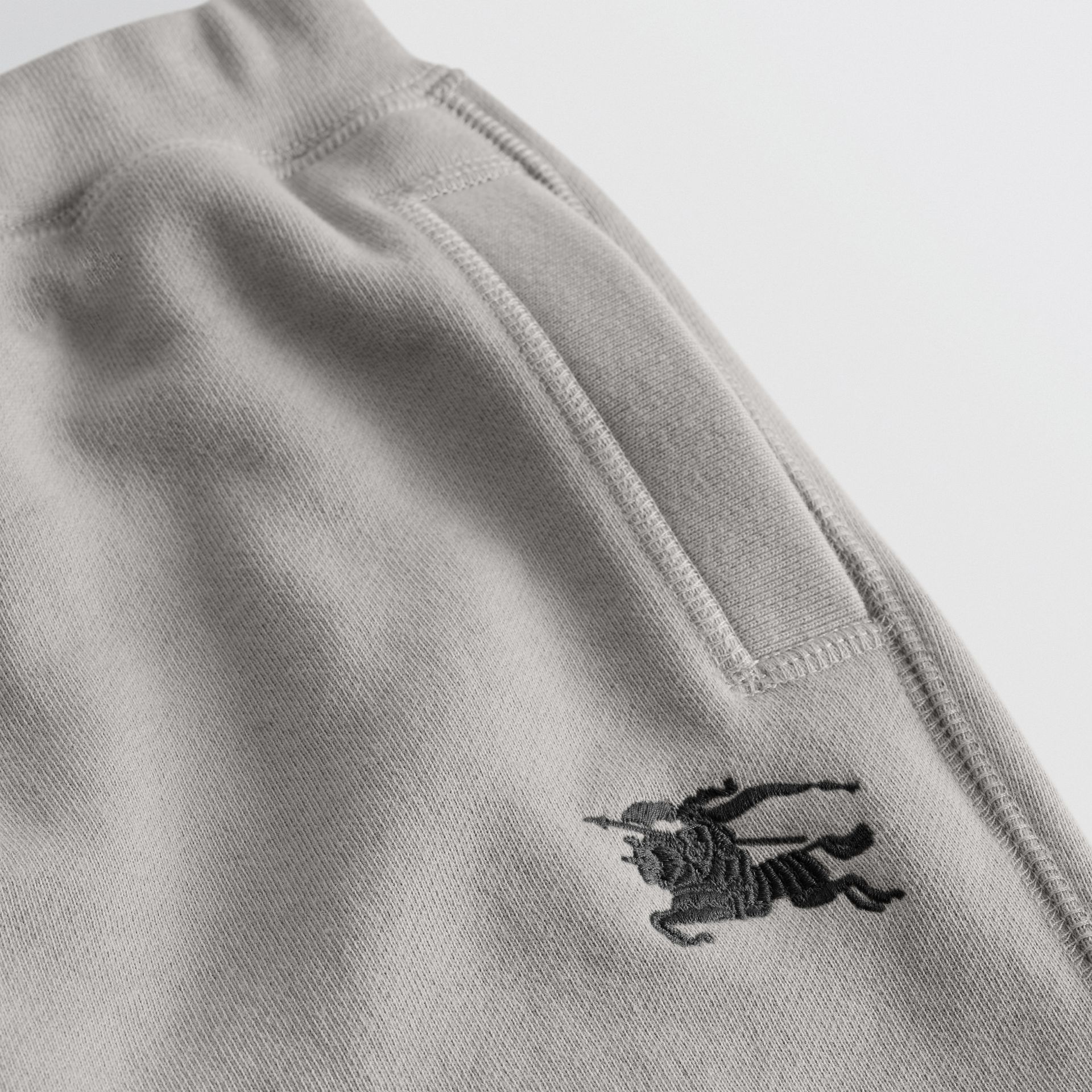 Cotton Jersey Trackpants in Chalk Grey Melange | Burberry - gallery image 1
