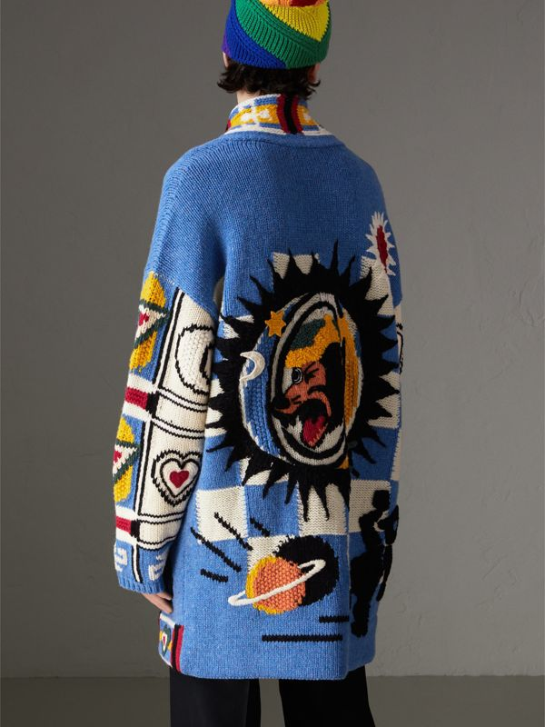 Wool Graphic Intarsia Cardigan in Sky Blue | Burberry Canada - cell image 2