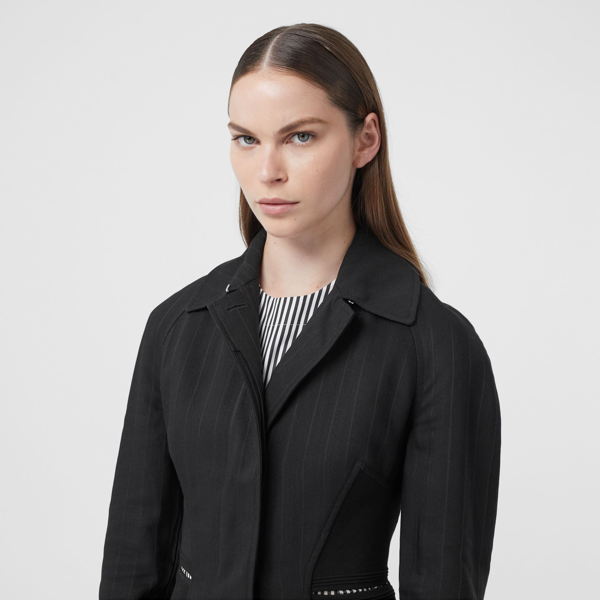 Pinstriped Technical Twill Reconstructed Car Coat in Black - Women | Burberry Australia - gallery image 4