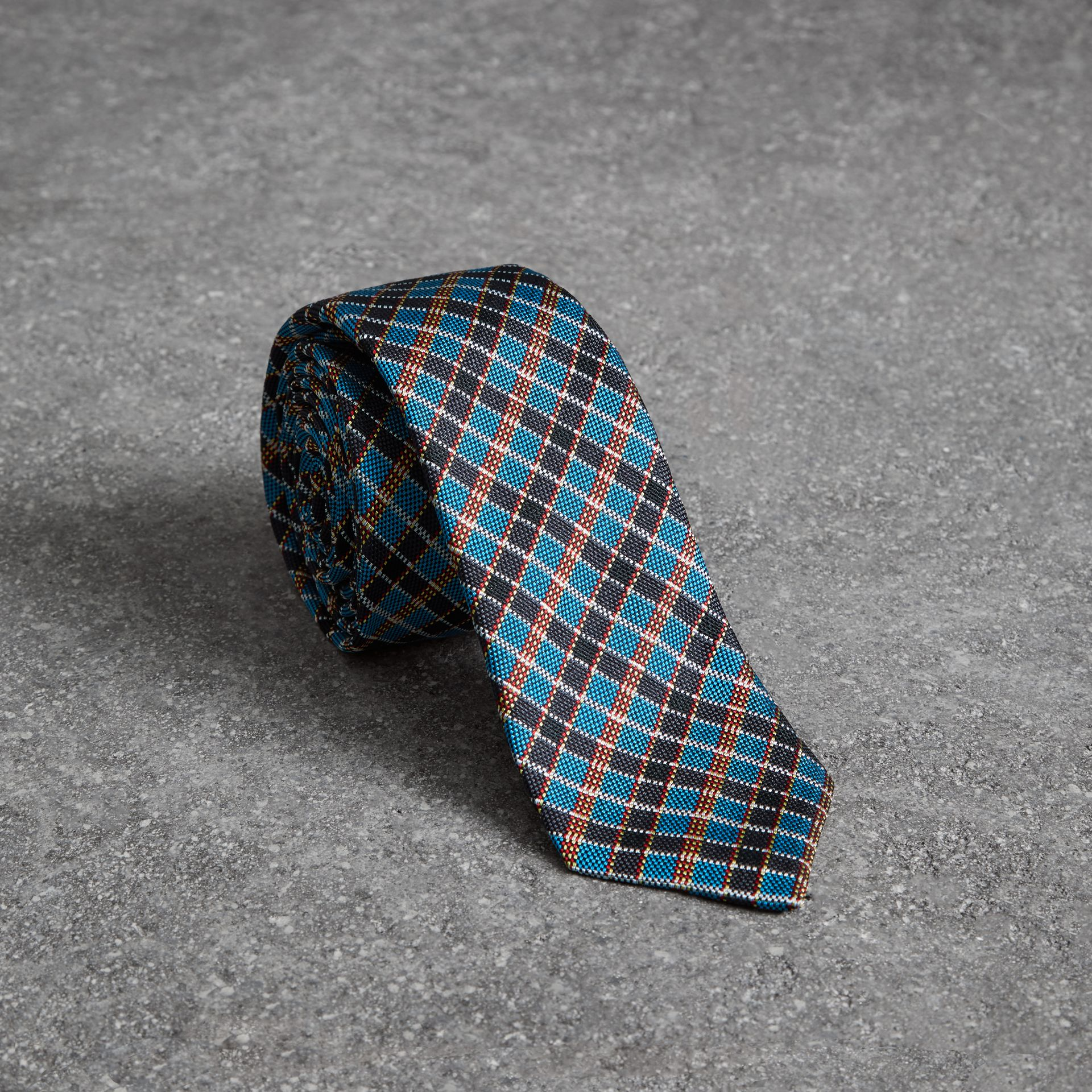 Slim Cut Check Silk Jacquard Tie in Cyan Blue - Men | Burberry United States - gallery image 0