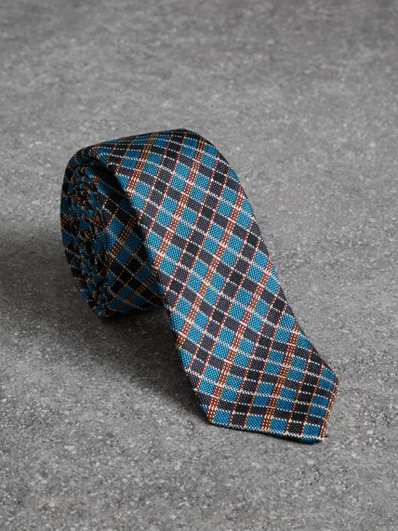 Slim Cut Check Silk Jacquard Tie in Cyan Blue