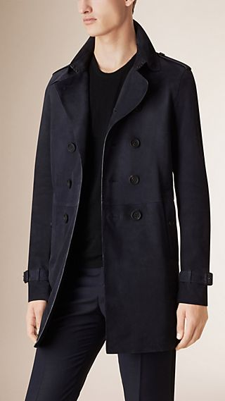 Trench coat sfoderato in pelle scamosciata